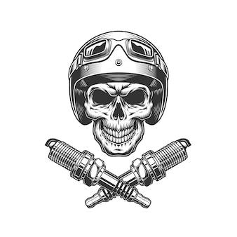 Czaszka motocyklista rocznika motocykla