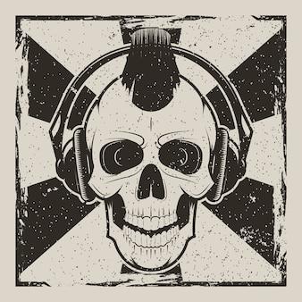 Czaszka muzyka punk vintage grunge