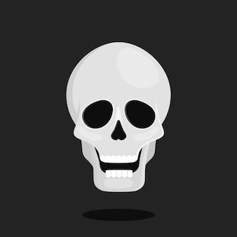 Czaszka na czarnym tle. ilustracja kreskówka wektor na halloween