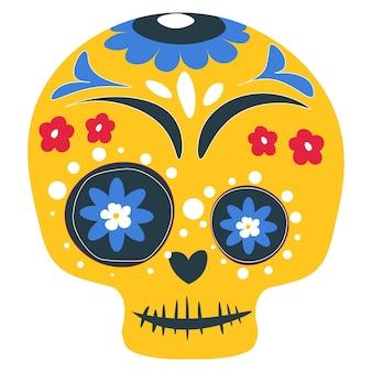 Czaszka ozdobiona liniami i kwiatowymi ornamentami na dzień zmarłych. meksykańskie wakacje, dia de los muertos. ikona na białym tle calavera, karnawałowy makijaż tradycyjne malarstwo. wektor w stylu płaskiej