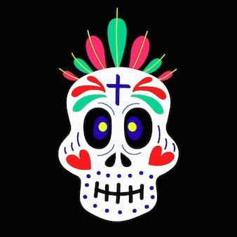 Czaszka ozdobiona ornamentami, sercami, piórami na obchody dnia zmarłych i ilustracji wektorowych halloween