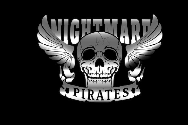 Czaszka piraci z koszmaru w kolorze srebrnym