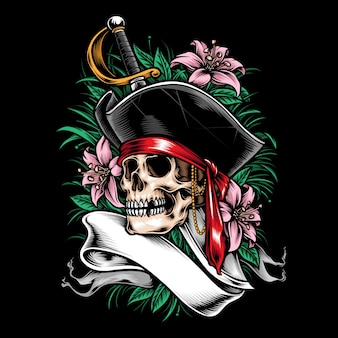 Czaszka piratów z roślinnym motywem