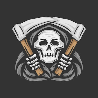 Czaszka ponury żniwiarz z ilustracją wektorową logo sierpa