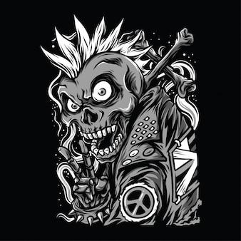 Czaszka punk czarno-biały ilustracja