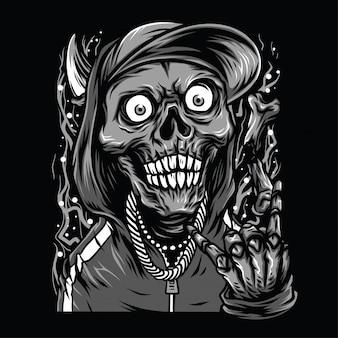 Czaszka raper czarno-biały ilustracja