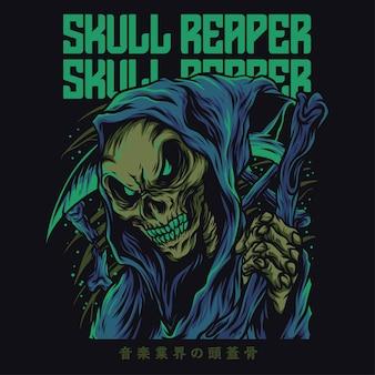 Czaszka reaper cartoon zabawna ilustracja