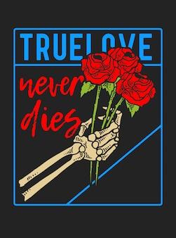 Czaszka ręka trzyma róża z typografii skryptowej