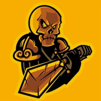 Czaszka rycerz trzyma logo e-sportu miecza