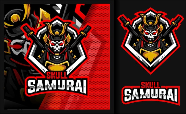 Czaszka samurai legend commander maskotka logo gaming