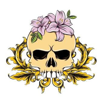 Czaszka śmierci z kwiatami i złotą dekoracją