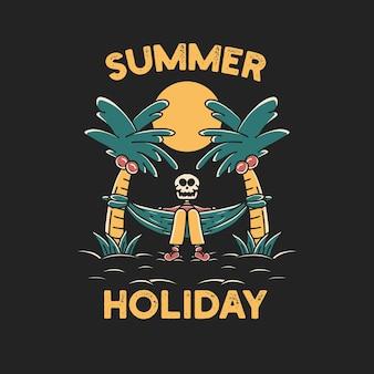 Czaszka summer beach holiday graficzna ilustracja art