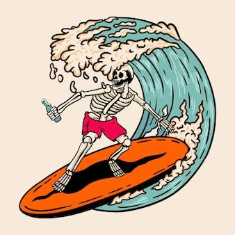 Czaszka surfing retro ilustracja