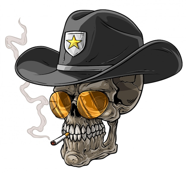 Czaszka szeryfa kreskówka z kapeluszem i papierosem