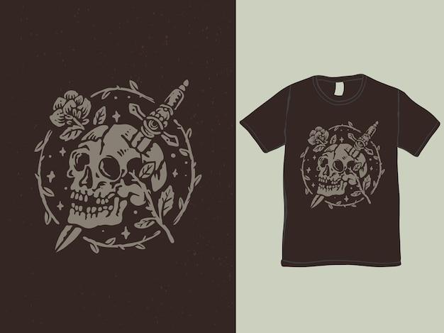 Czaszka sztylet i róża w stylu vintage tshirt