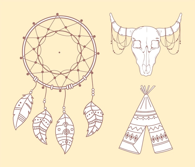 Czaszka tipi byka i łapacz snów boho i ilustracja plemienna