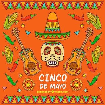 Czaszka tła z ręcznie rysowane mexican kapelusz