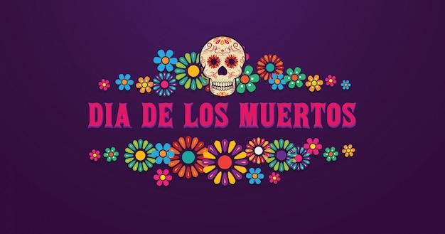 Czaszka transparent dia de los muertos otoczona kolorowymi kwiatami, meksykańskie wydarzenie, fiesta, plakat imprezowy, świąteczna kartka okolicznościowa
