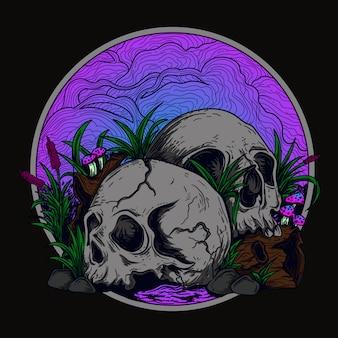 Czaszka, trawa i grzyby