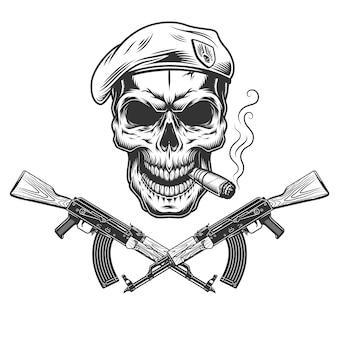 Czaszka vintage granatowa pieczęć w berecie