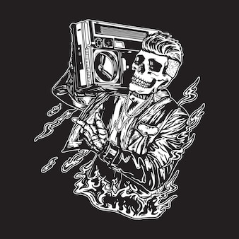 Czaszka vintage hip hop ilustracja