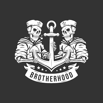 Czaszka vintage żeglarza braterstwa z ilustracją kotwicy