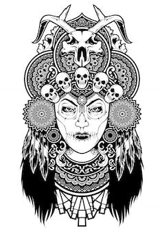 Czaszka voodoo kobiet