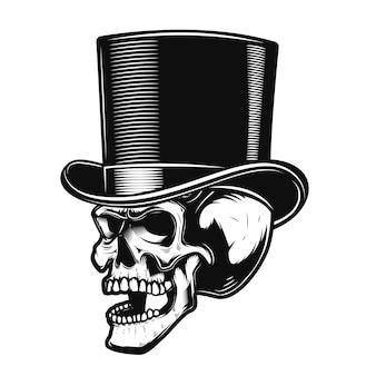 Czaszka w dżentelmeńskim kapeluszu. element plakatu, godło, znak, koszulka. ilustracja