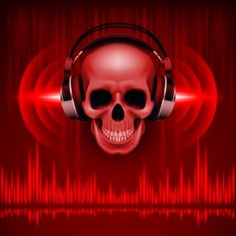 Czaszka w ilustracji słuchawek