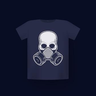 Czaszka w respiratorze, maska gazowa, nadruk na koszulce