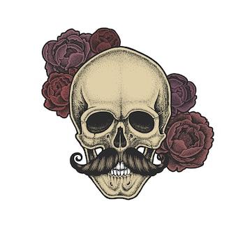 Czaszka w stylu dotwork z wąsami i piwoniami. ręcznie rysowane ilustracji. projekt koszulki.