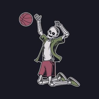 Czaszka w stylu vintage t shirt wykonuje skok, biorąc ilustrację piłki