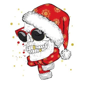 Czaszka w świątecznej czapce. święty mikołaj.