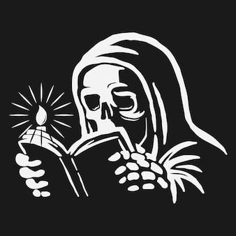 Czaszka w szacie, czytając książkę ze świecą na boku.