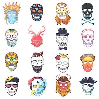 Czaszka wektorowa meksykańska martwa głowa, piszczele i ludzka tatuaż ilustracja