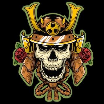 Czaszka z armią japońskiego tradycyjnego hełmu i maskotką z różanym logo