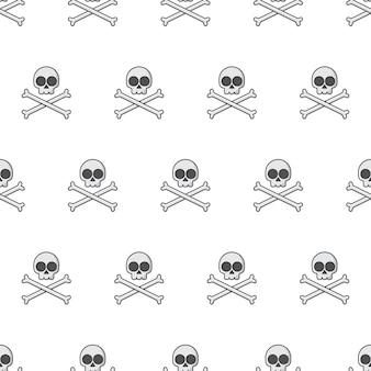 Czaszka z crossbone szwu. ilustracja motywu godła pirata