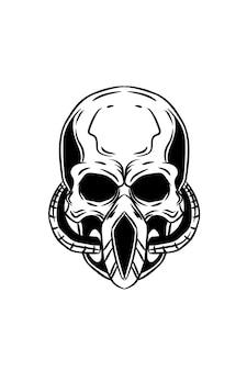 Czaszka z ilustracją wektorową maski