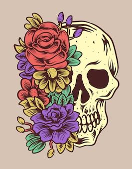 Czaszka z ilustracji wektorowych kwiaty