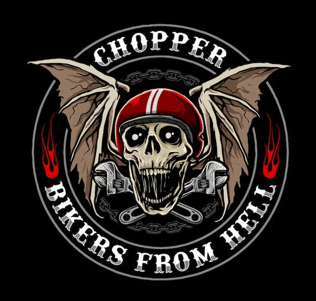 Czaszka z kierownicą motocykla, odpowiednia na logo klubu motocyklowego