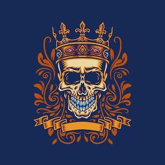 Czaszka z królem, korona, ręcznie rysowana linia cyfrowym kolorem, ilustracja