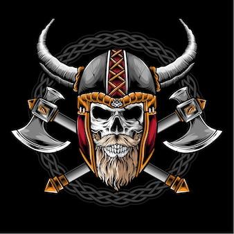 Czaszka z logo hełmu wikingów