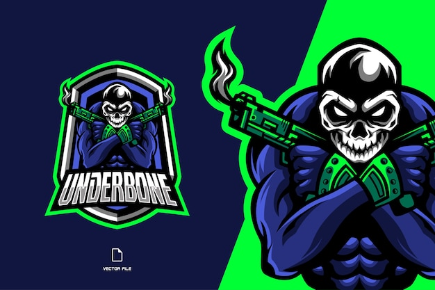 Czaszka z logo maskotki pistoletu dla ilustracji zespołu sportowego i esportowego