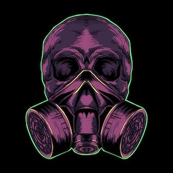 Czaszka z maski gazowej purpurową ilustracją