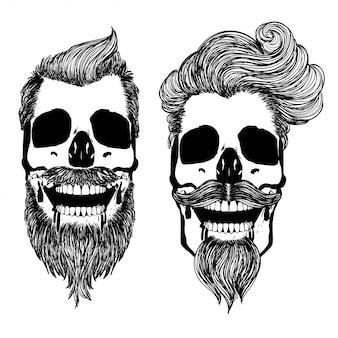 Czaszka z nowoczesną męską fryzurą i brodą
