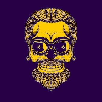 Czaszka z okularami i brodą na logo fryzjera