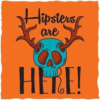 Czaszka z rogami jelenia, ilustracja motyw hipster.