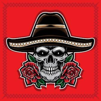 Czaszka z różą i sombrero kapelusz wektor