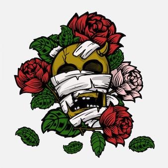 Czaszka z różą