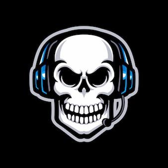 Czaszka z słuchawki maskotka logo na białym tle